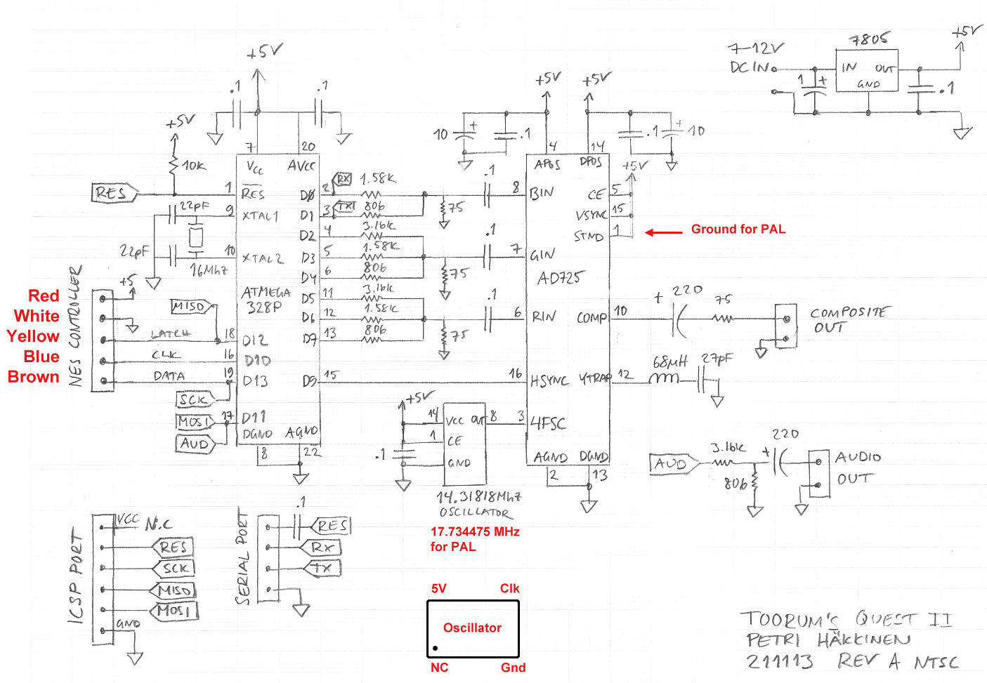 Gammon Forum Electronics Microprocessors Toorums Quest Ii Nes Wiring Diagram For Pal Tv Standard You Ground Pin 1 Of The Ad725 Chip And Use A Different Frequency Oscillator I Have Noted Wire Colours Controller Used